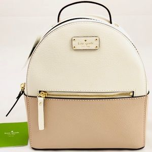 New! Kate Spade White and Cream Leather Backpack